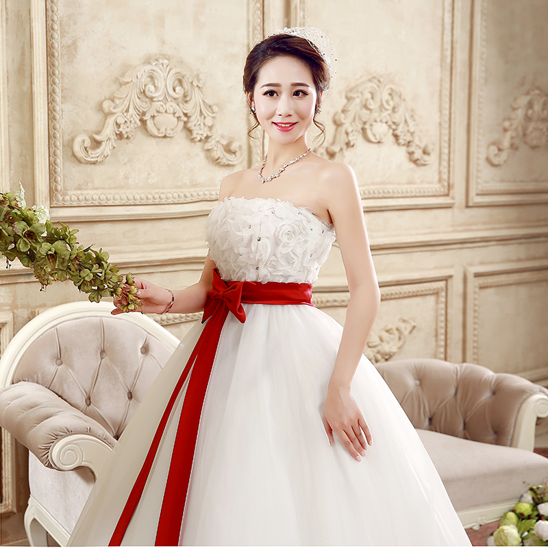 Beaded Flowers Wedding dress Fast Shipping Ball Gown Lovely Bow ...