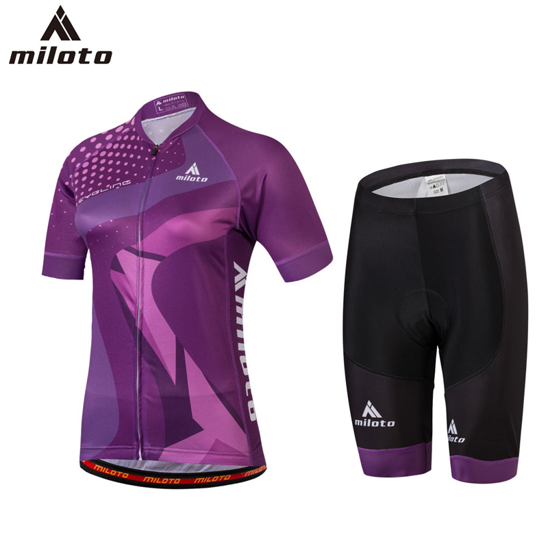 Miloto Tops Breathable Pro Cycling Jersey Sets Mtb Bike Clothes Wear Women Summer Racing Bicycle Clothing Roupas de Ciclismo