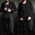 Avant-garde Design Desequilíbrio Nervoso Drapeados escuro Xale Cardigan de Manga Longa Dos Homens T shirt Tee Top Mens Rash Guards traje