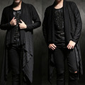 Dark Avant-garde Design Edgy Unbalance Draping Shawl Long Sleeve Cardigan Mens T shirt Tee Top Mens Rash Guards Costume