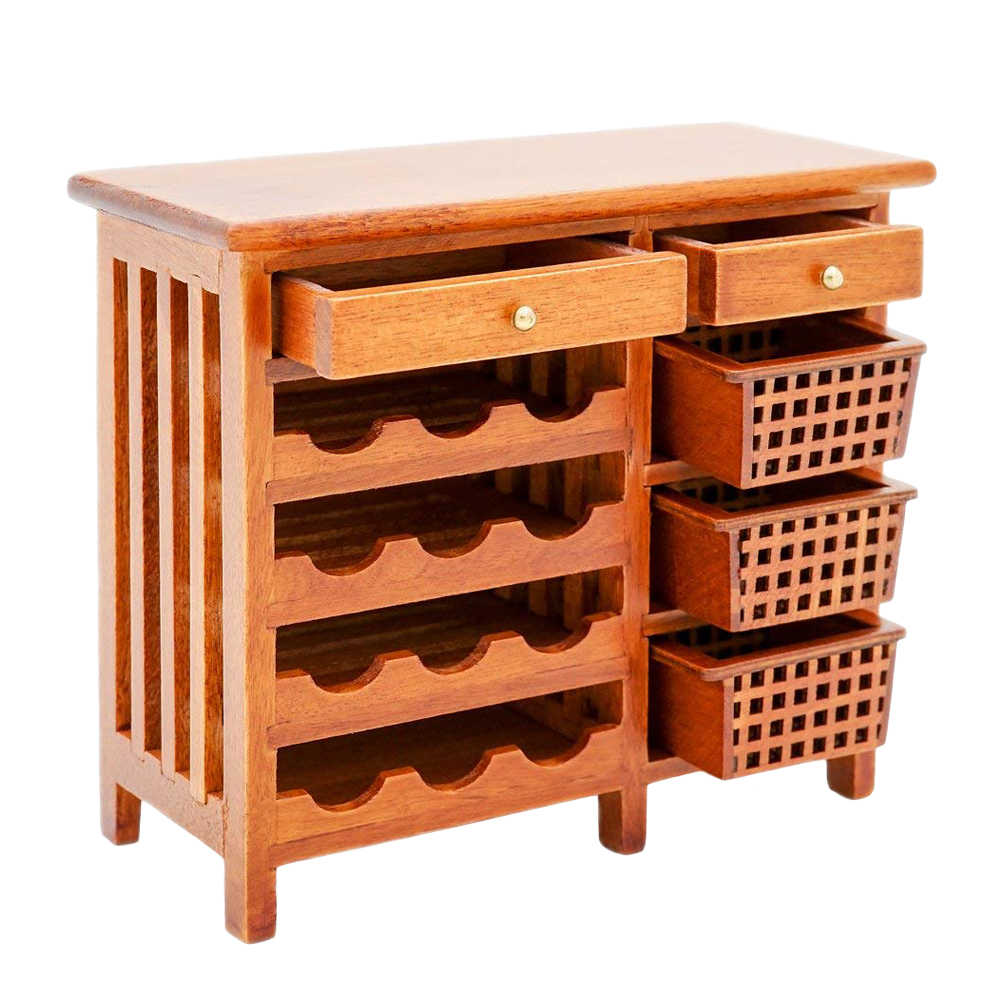 Odoria 1:12 Miniature Red Wine Wood Hutch Kitchenware Cabinet with Working Drawers Dollhouse Furniture Accessories