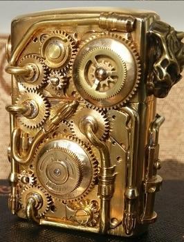 Double-sided-gear-can-run-Skull-head-tube-gear-welding-linkage-brass-Handmade