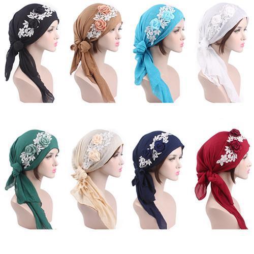 Gorras para musulmanes con flores para mujer, Bandana Hijab para la caída del cabello, sombreros turbante de quimio, banda para el cabello, para la cabeza turbante, moda islámica India