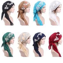 ผู้หญิงดอกไม้มุสลิมหมวก Hijab ผ้าพันคอผม Turban Chemo หมวกยาวผมวง HEAD Wraps สไตล์อินเดียอิสลามแฟชั่น