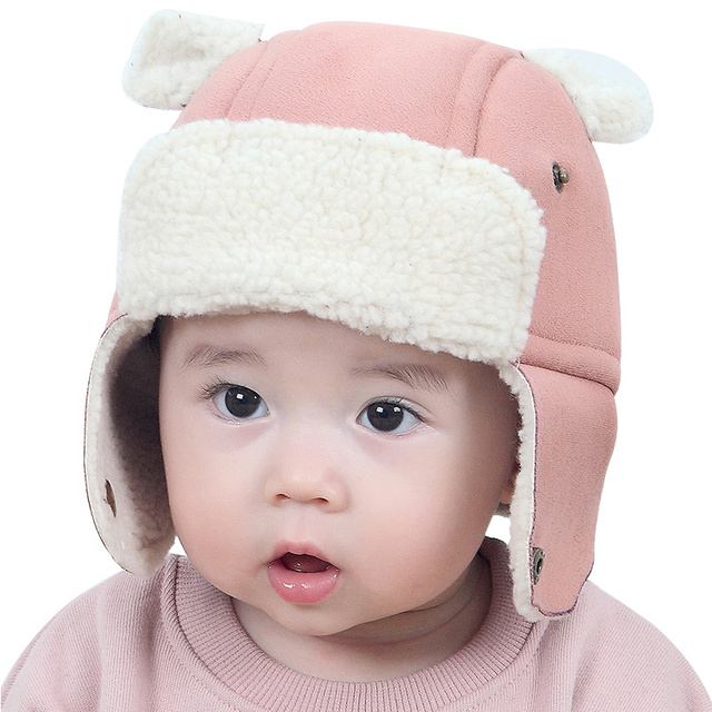 018c1e2851f Ear Protect Baby Winter Hat Warm Velvet Beanie With Bear Ears Thick Warm  Kids Bomber Hat