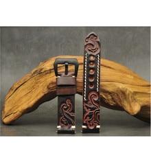 Correa de reloj de cuero genuino cosida a mano, banda de reloj tallada en relieve, cinturón con Hebilla negra de acero inoxidable 20mm 22mm 24mm