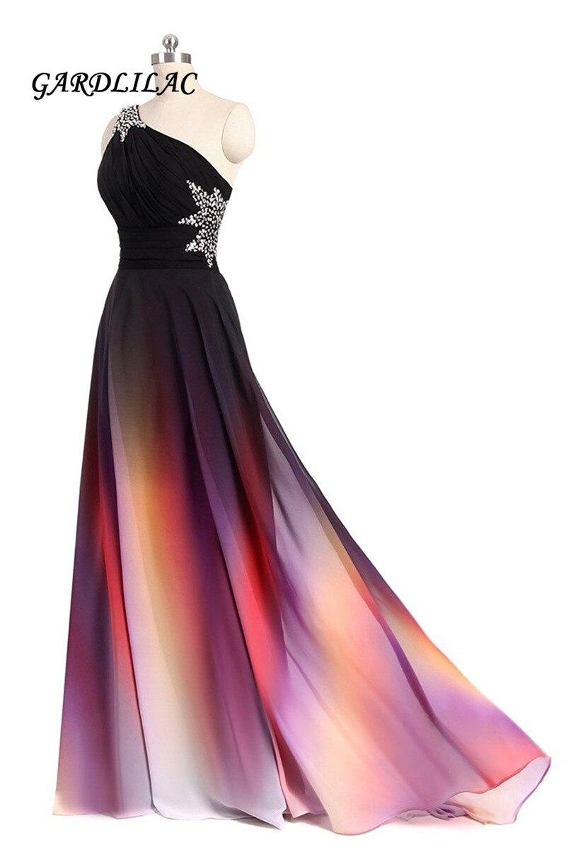 新片方の肩オンブルロングドレス黒ピンク勾配イブニングビーズウェディングパーティードレス  グループ上の ウェディング & イベント からの プロムドレス の中 1