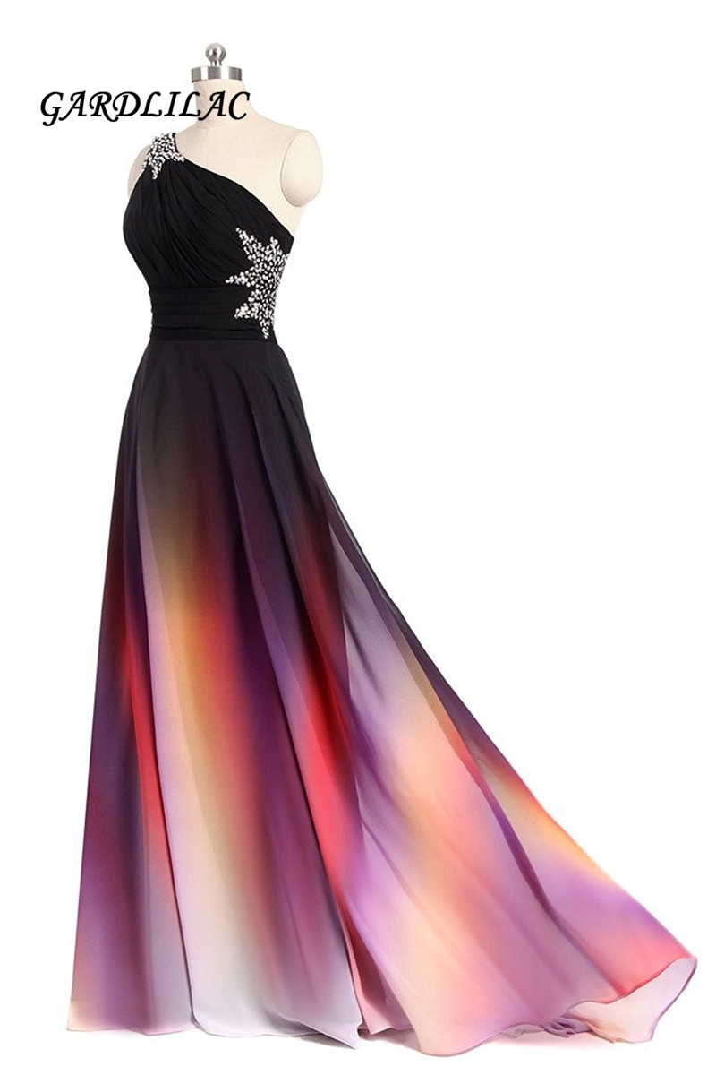 New One Shoulder Ombre Long   Prom     Dress   Black Pink Gradient Evening   Prom   Gowns With Beads Wedding Party Gowns