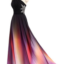 New One Shoulder Ombre Long Prom Dress Black Pink Gradient E