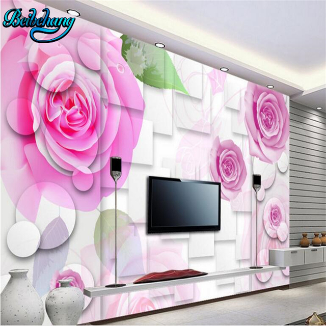 beibehang 3D Stereo Rose TV Wall Wallpaper PSD Template Download ...