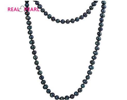 Colore nero Reale D'acqua Dolce Collana di Perle Lunga collana di Perle Dei Monili per il braccialetto di Fascino Della Signora Femminile Regalo di Vendita Calda