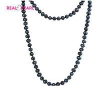 Black Color Real Freshwater Pearl Necklace Long Pearl Jewelry for Charm Lady Female Gift Hot Sale(China)