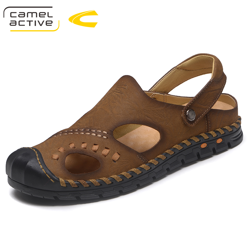 Camel Active Genuine Leather Men Sandals Shoes Fretwork Breathable Fisherman Shoes Style Retro Gladiator summer Men Shoes 18126