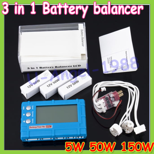 1pcs 3 in 1 Battery Balancer LCD Voltage Indicator Battery Discharger 5W 50W 150W for choose