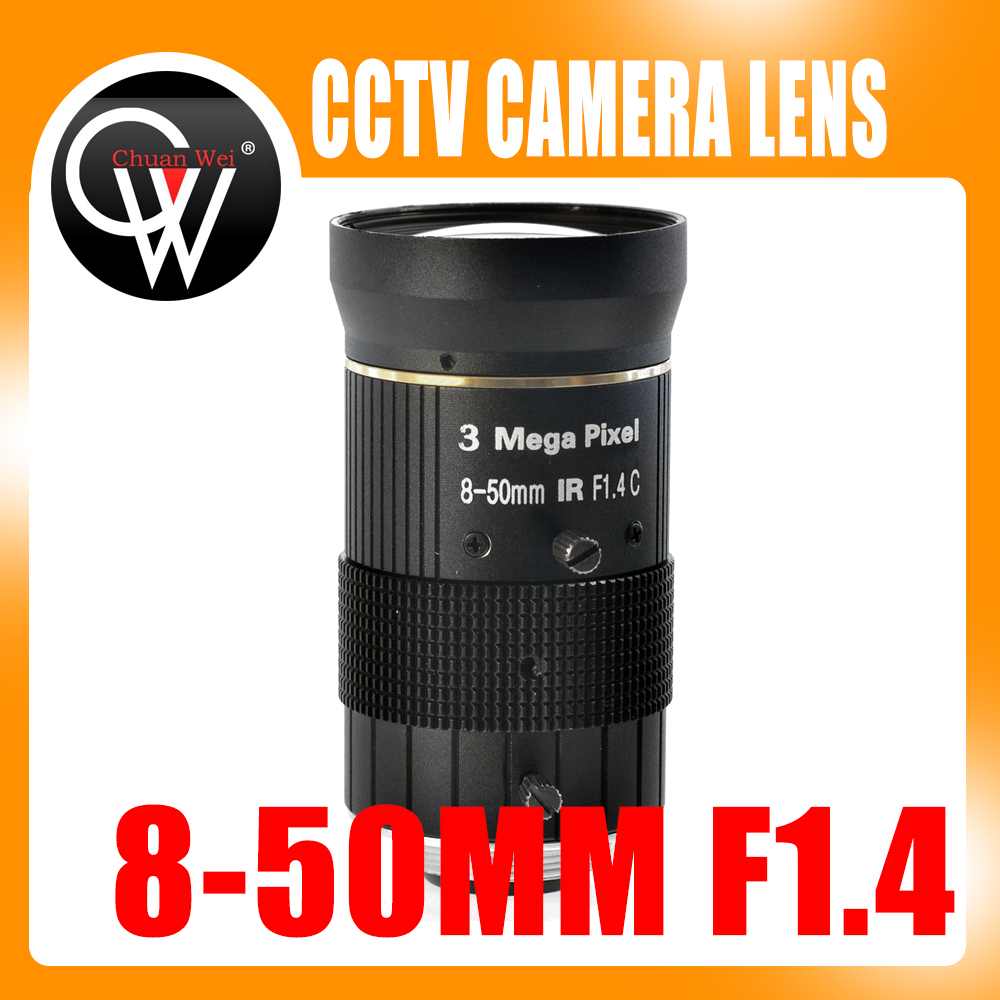 3.0MP 8-50mm C-mountlens F1.4 Handmatige IRIS-zoom Focuslens voor cctv-camera-industrie Microscoopcamera