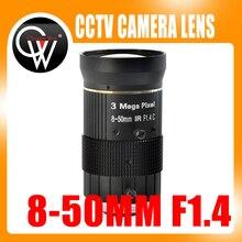 3.0MP 8-50mm C Mount Lens F1.4 Manual IRIS zoom Focus lens for cctv camera lndustrial Microscope Camera