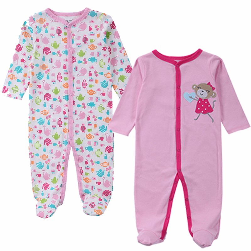 2 Pcslot Baby Clothes Baby Boy Girls Footed Romper Baby Rompers 100% Cotton Sleep & Play Clothes Baby Pajamas Newborn Clothing (2)