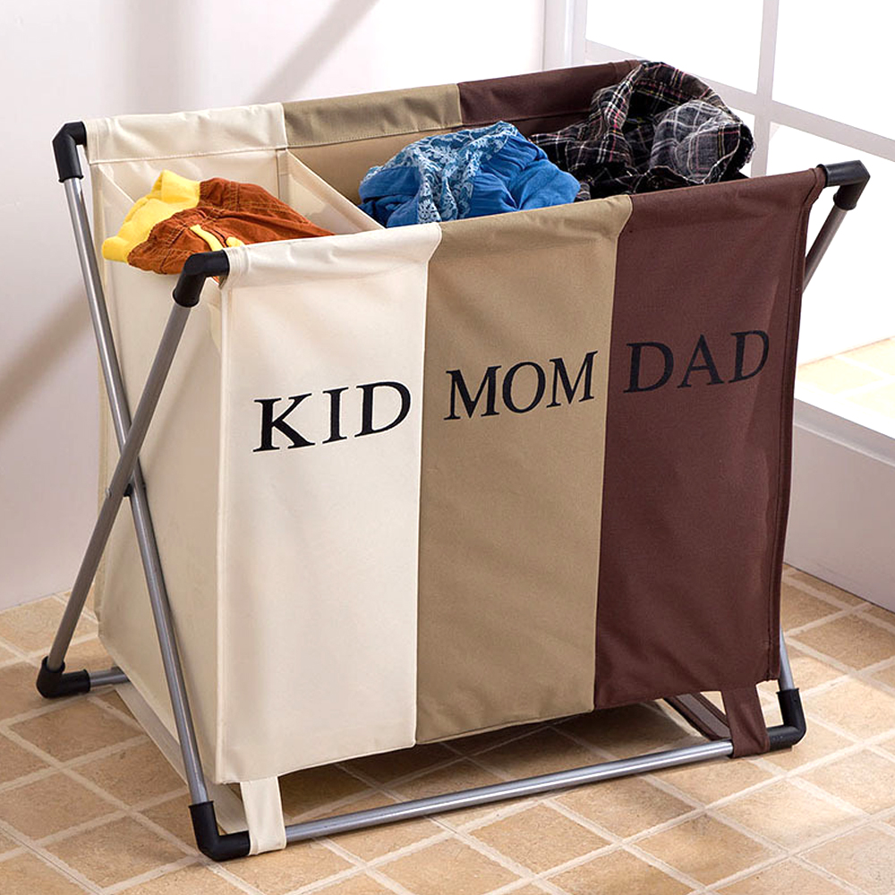 b7002cd1f059 US $22.79 |Floding 3 Bags Laundry Sorter Washing Clothes Family Sort  Laundry Basket Dirty Clothes Storage Hamper Basket-in Laundry Bags &  Baskets from ...