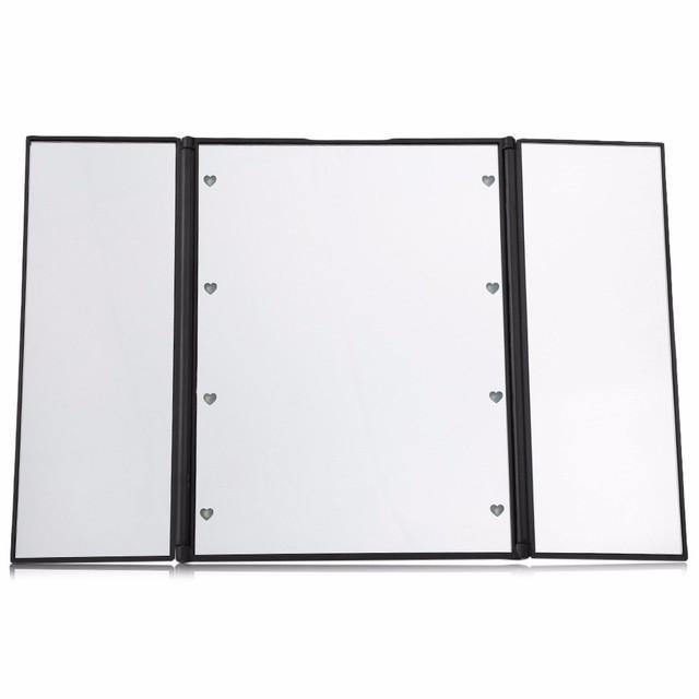 Tres Plegable de Mesa Led Luminoso de La Lámpara de Baño Espejo de aumento Espejo de Maquillaje Portátil Ajustable de Mesa Encimera Espejo con Luz