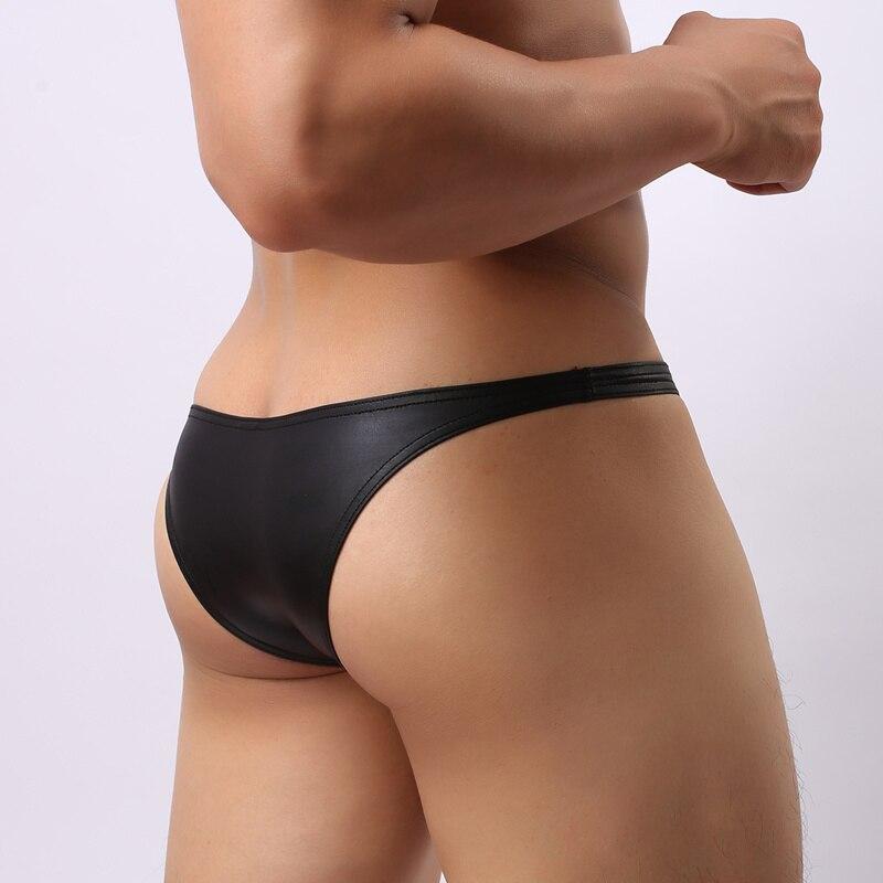 Brand 2018 Sexy Mini Men Briefs Underwear Black Imitation Leather Men's Panties Gay Men Bikini Brief