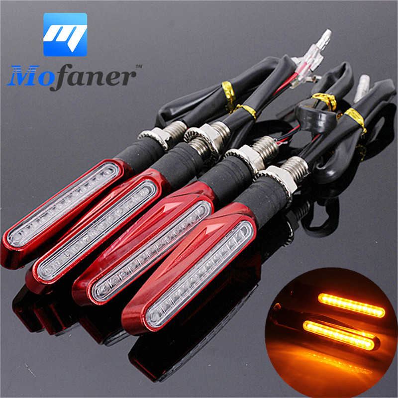 4 Pieces Universal Motorcycle Bike 12 LED Turn Signal Light Red Motorbike Indicator Blinkers Light Amber