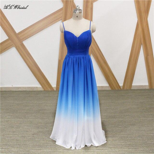 Elegante Lange Abendkleid Blau Weiß Farbverlauf Chiffon A linie ...