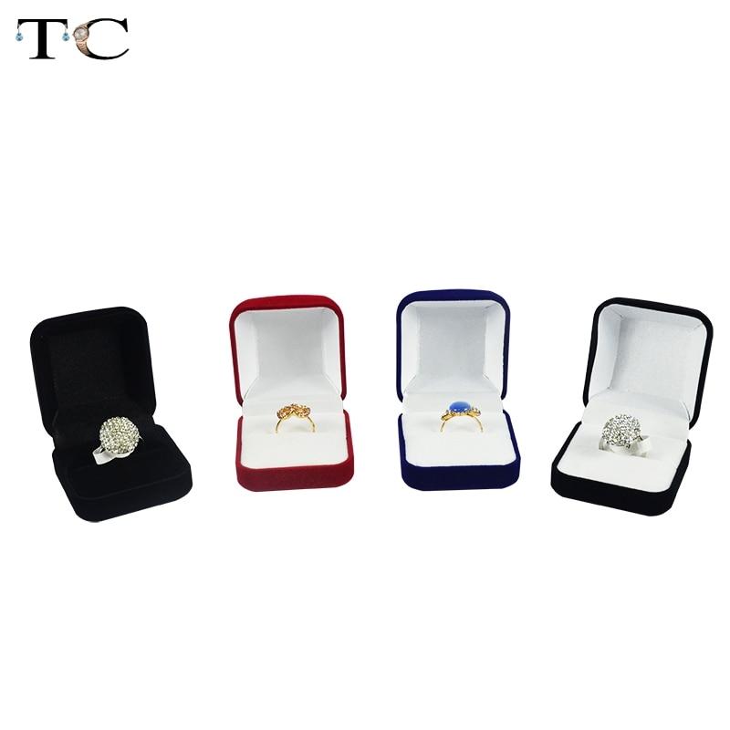Wholesale Engagement Black Velvet Ring Box Jewelry Display Storage Foldable Case For Wedding Ring Valentine's Day Gift Organizer