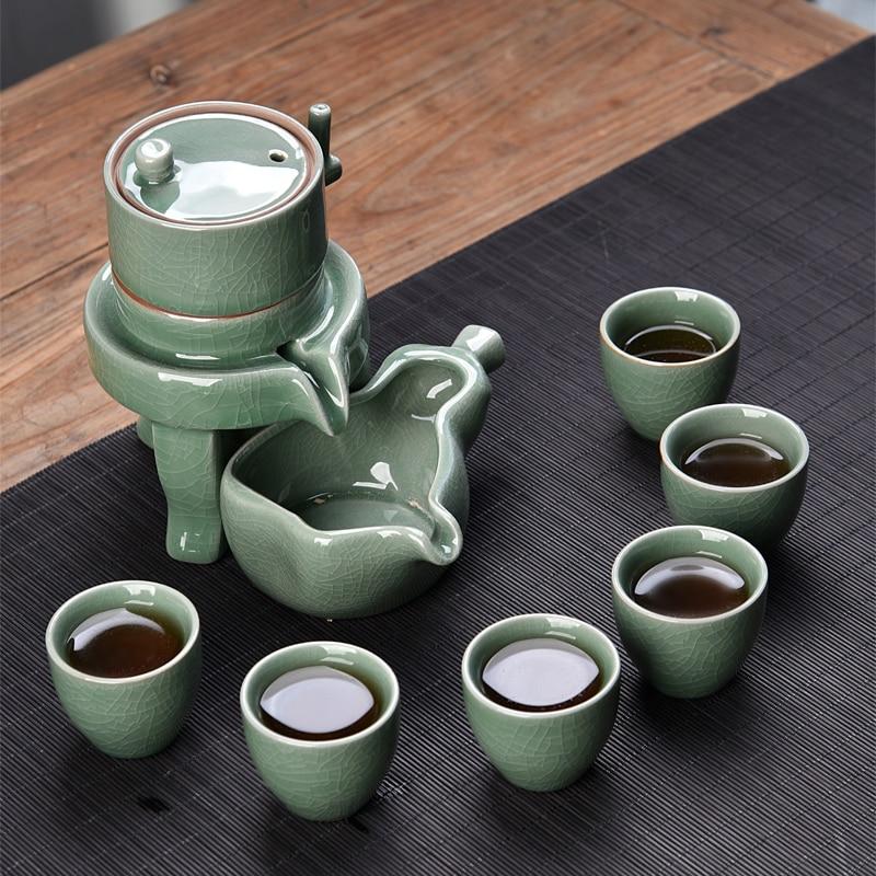 New Design Semi-automatic Kung Fu Tea Set,6 Tea Cups And 1 Tea Pot,The Most Creative Tea Set,Exquisite Ceramic Drinkware