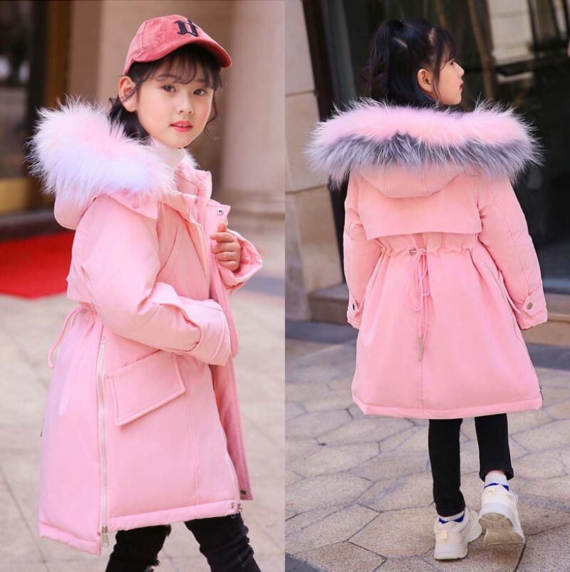 Winter thick Jacket for Girls True fur collar Girls Winter Coat 2018 Children down jacket fashion Parkas Outerwear Teen Clothes стоимость