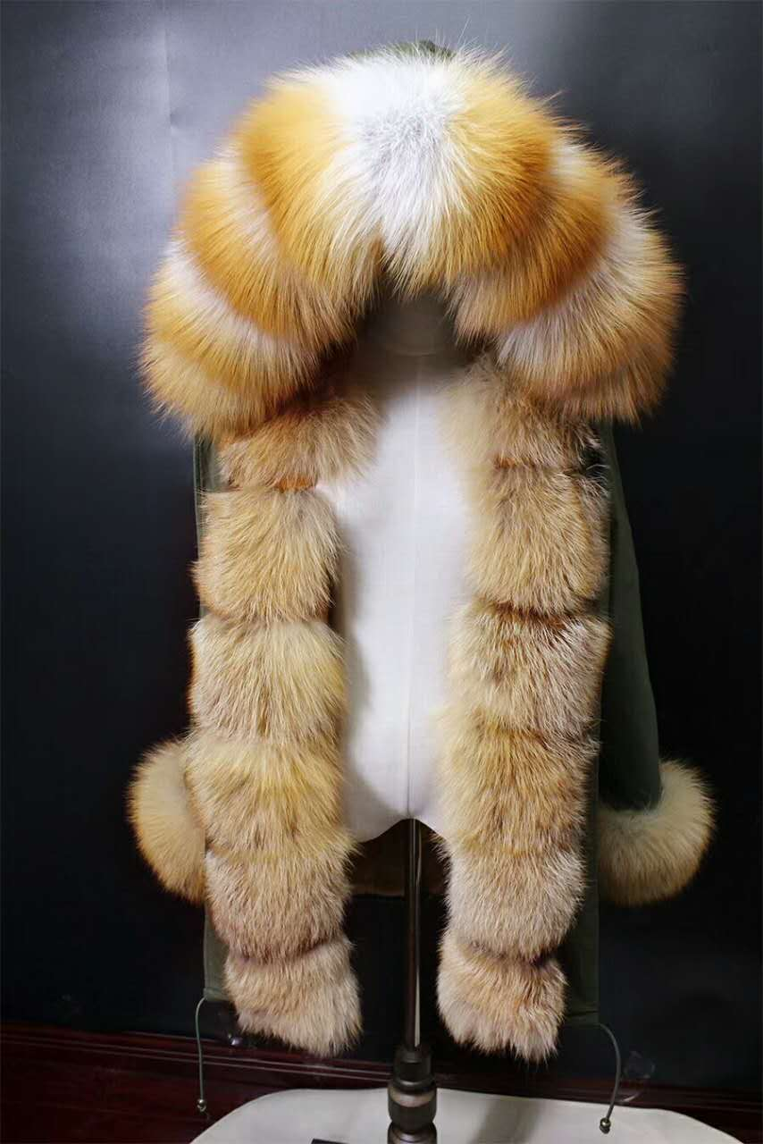 2017 winter new women's  fashion red fox fur collar  rex rabbit  lining middle long parka coat nick garment 2017 winter new clothes to overcome the coat of women in the long reed rabbit hair fur fur coat fox raccoon fur collar
