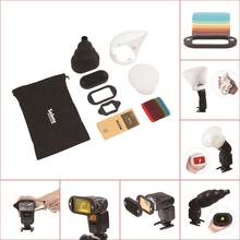 1Set Honeycomb Gridx + Shelf + Filter + Rubber Band + Light Sphere / Bounce / Snoot + Bolsa de transporte PARA flash Speedlite