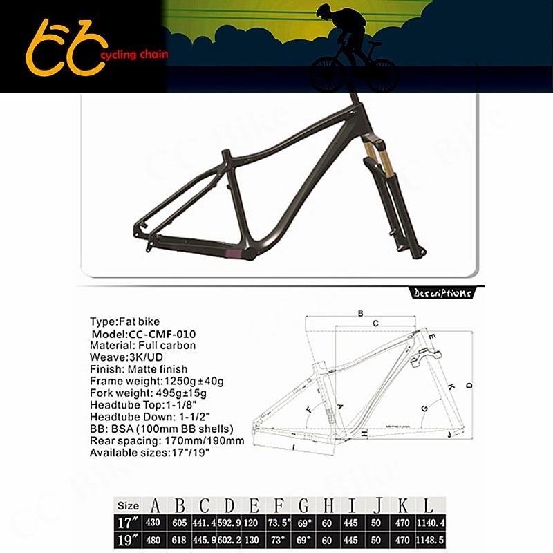 Full carbon fat bike frame 26er Toray T700 high mould carbon snowbike frame 100mm BB Fat Bike Frame bike anatomy