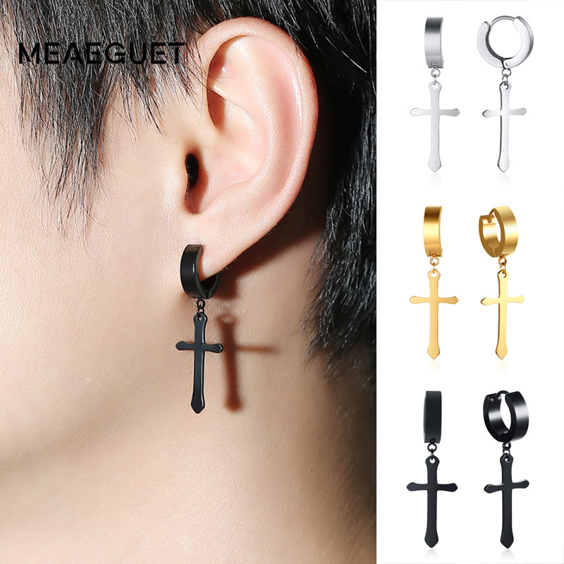 Dangle Clip on Earring Stainless Steel Cross Charm Dangle Hoop Punk Earrings for Girls Gold-tone