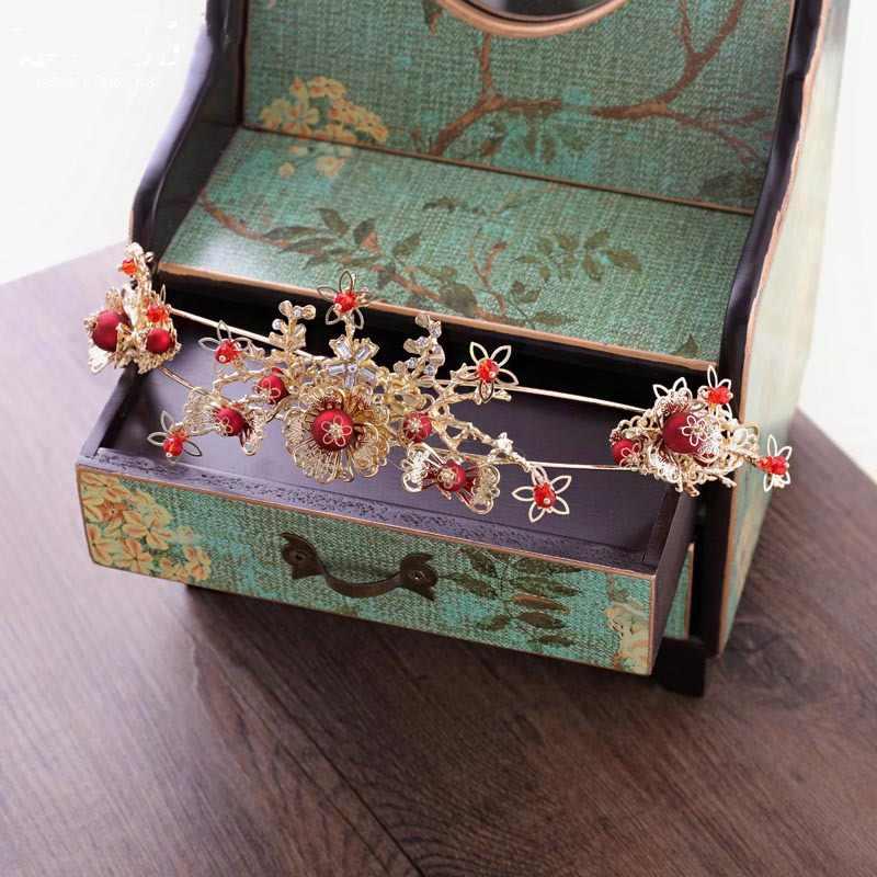 เจ้าสาวสไตล์จีนสีแดง Headwear ต่างหูโบราณพู่ Crown อุปกรณ์เสริมผมขายส่ง