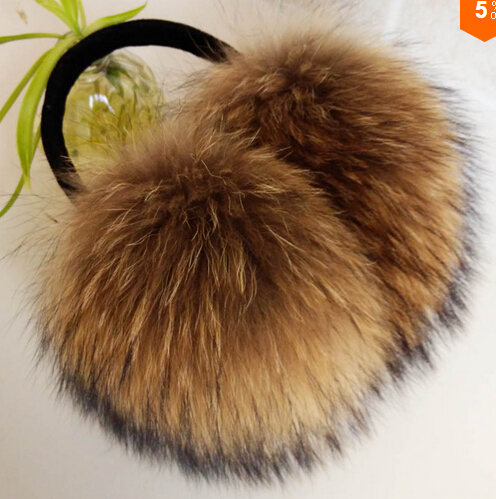 Glaforny 2017 Oversized Really Big Raccoon Fur Earmuffs Korean Real Fur Earmuffs Lovely Personality Plush Fur Ear Cover Warm