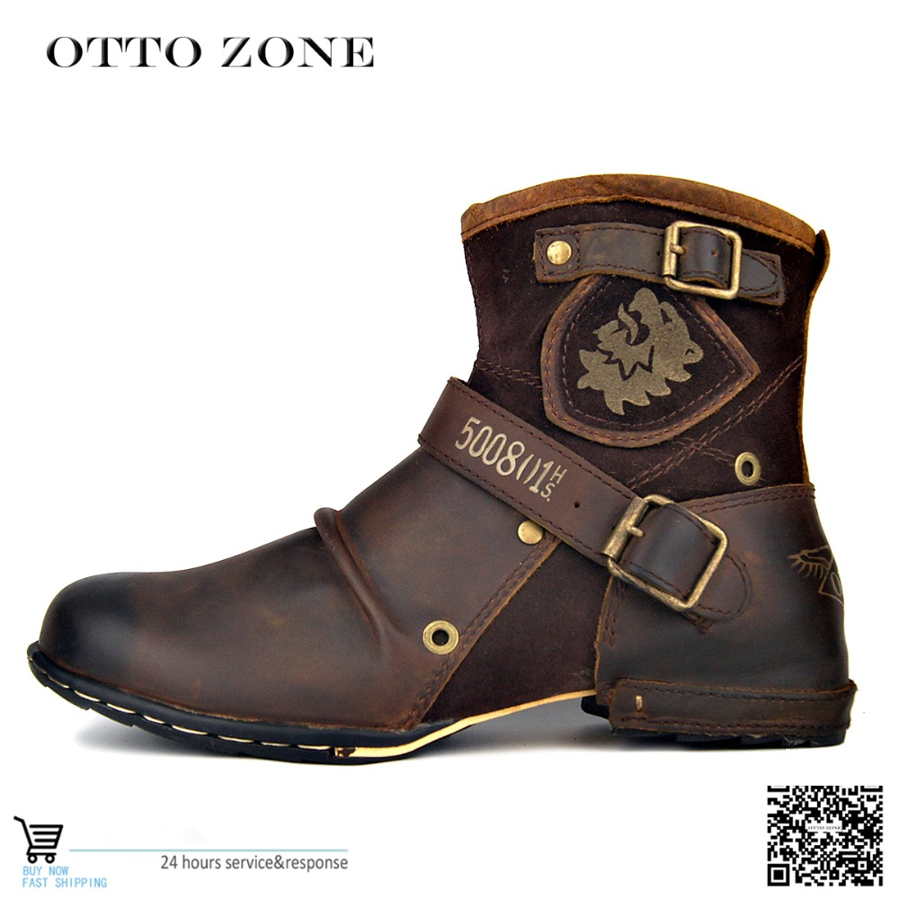 OTTO ZONE Men s Autumn Winter Shoes Boots Genuine Cow Leather High Top Ankle Boots Cotton