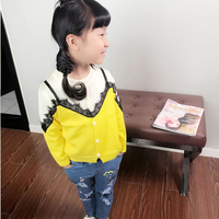 Girls Alpaca Cardigan Sweater Fashion Knitted Kids Children Clothing Autumn Winter Baby Girl Lace Cotton Sweater