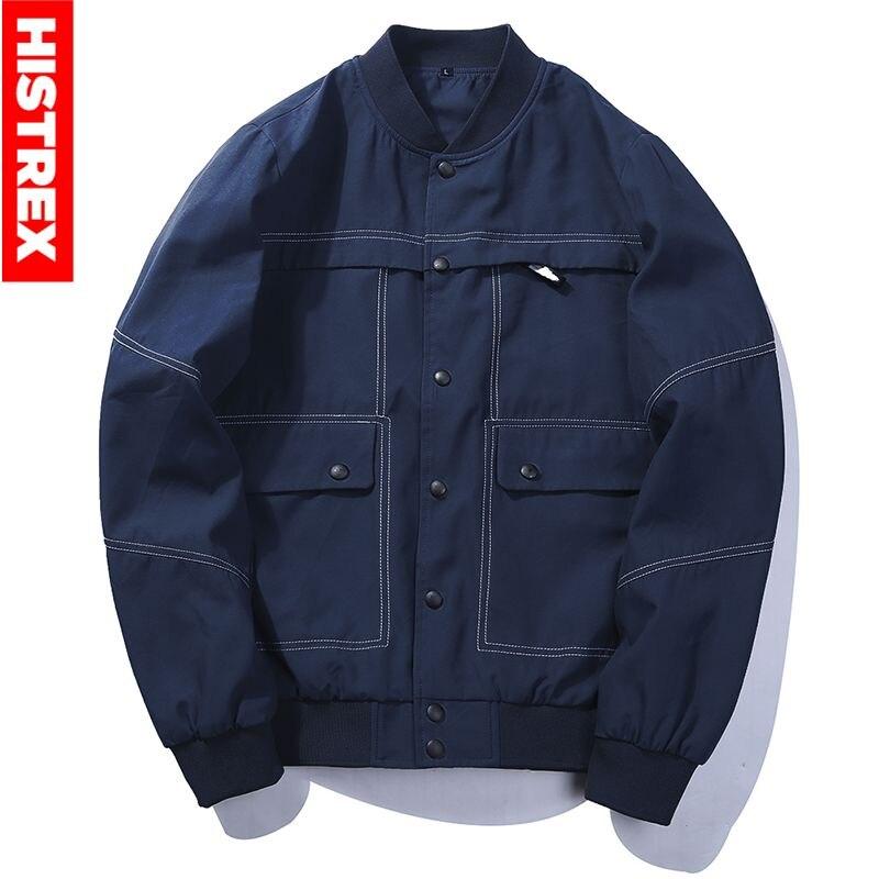 9c0e1ea27187c HISTREX Brand Jeans Jacket Men Autumn Winter Jackets Navy Black Coat Men  Stand Collar Fashion Worker Windbreaker  HJU2S