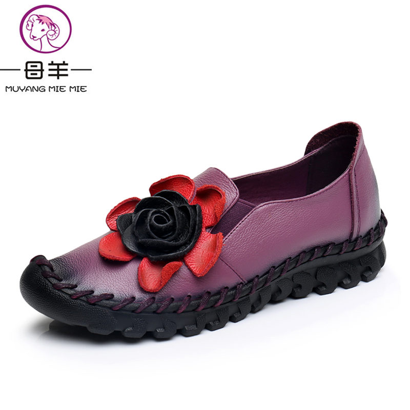 MUYANG MIE MIE New Women Shoes Woman Genuine Leather Handmade Flat Shoes Vintage Flower Shoes Soft Outsole Loafers Women Flats muyang mie mie genuine leather women shoes woman casual flower single flat shoes soft comfortable women flats