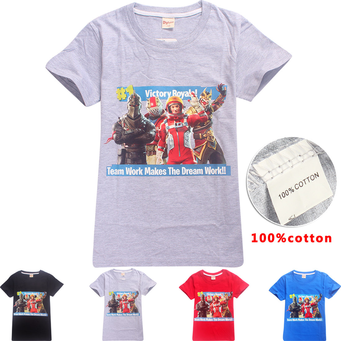 100% cotton Brand T-shirt Summer Kids Boys Girls Short-sleeved Tops Tees Fortnite Gaming Boy Funny Tshirt Teenage 6-13t Clothing