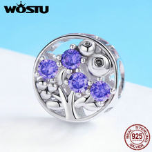 WOSTU 925 Sterling Silver Refreshing Blueberry Crystal Beads Charm Fit Original Women Bracelet Necklace Fine Jewelry Gift FNC015(China)