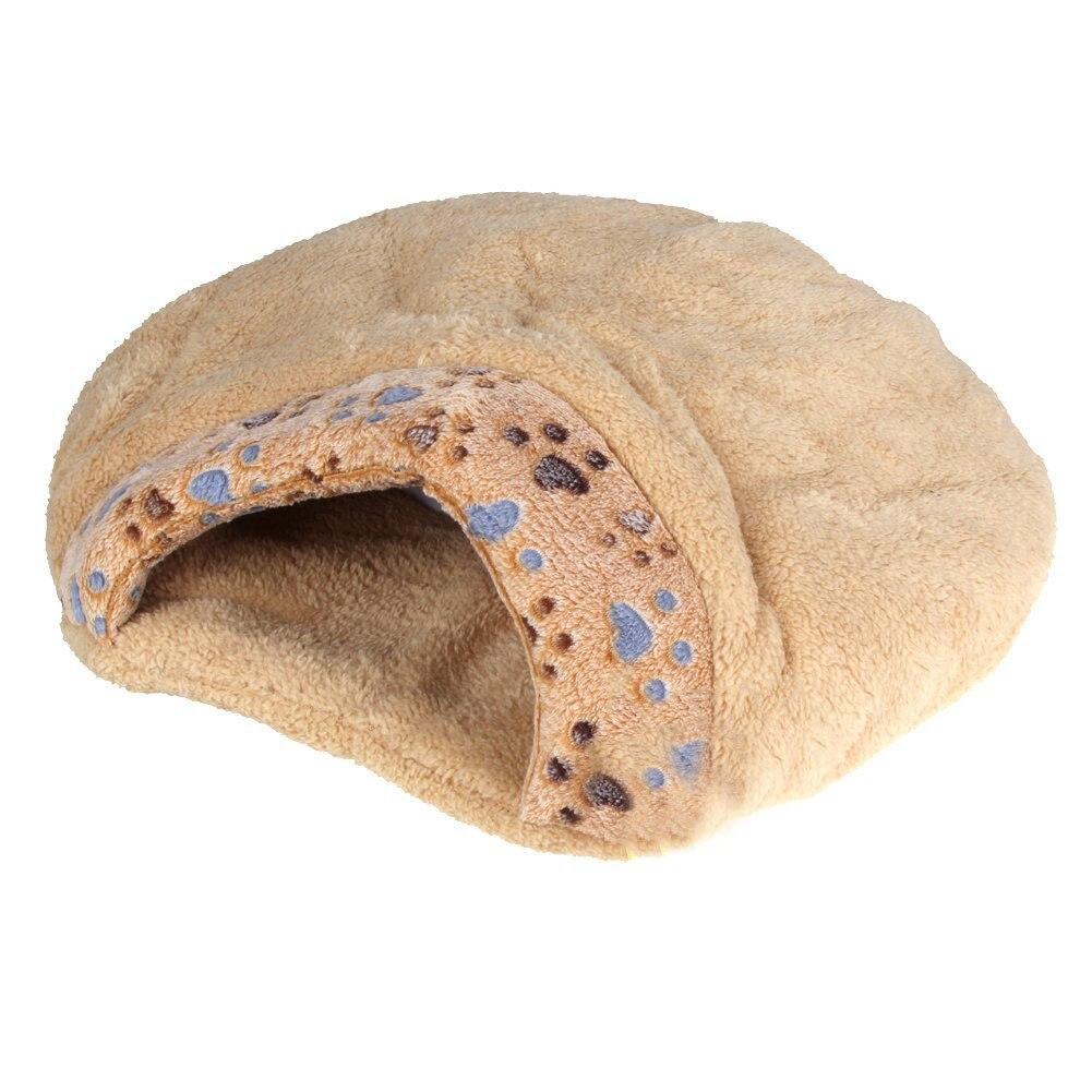AYHF-New Winter Warm Pet Dog Cat Bed House Cushion Half Covered Bed Sleeping Bag Comfortable Cute Hamburger Shape Plush M
