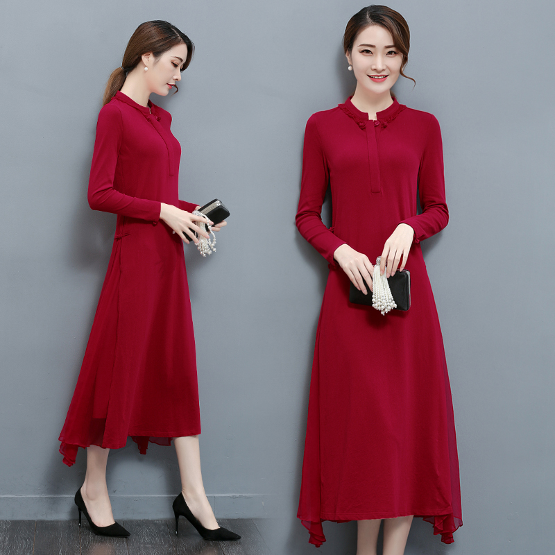 Chines Style 2018 New Autumn Dress Full Sleeves Mandarin Collar Loose Mulberry Silk Long Dresses Plus Size Women's Clothing