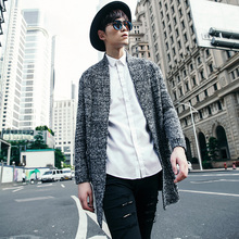 2017 Autumn Winter long mens cardigans Sweaters Long Sleeve Coat Korean Solid Casual Sweater Knitted Male Sweater XN047