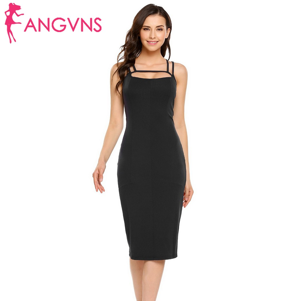 ANGVNS Womens Backless Sexy Dress Slim Spaghetti Strap Hem Split Dress 2017 Lady Party Club Evening Vestido Bodycon Pencil Dress