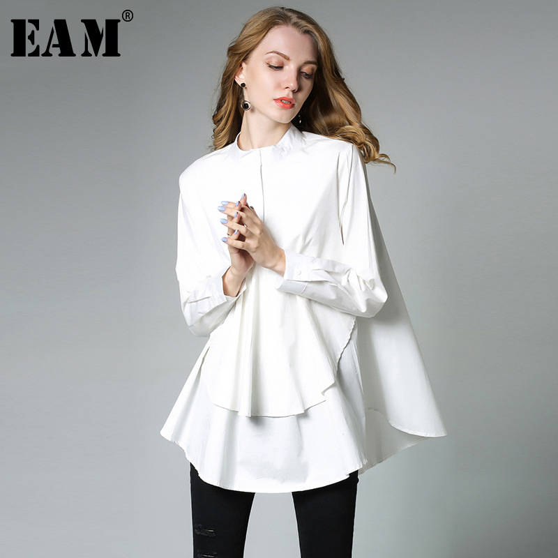 [EAM] 2019 New Spring Stand Collar Long Sleeve Solid Color Black White Asymmetry Loose Big Size Shirt Women Fashion Tide C0061