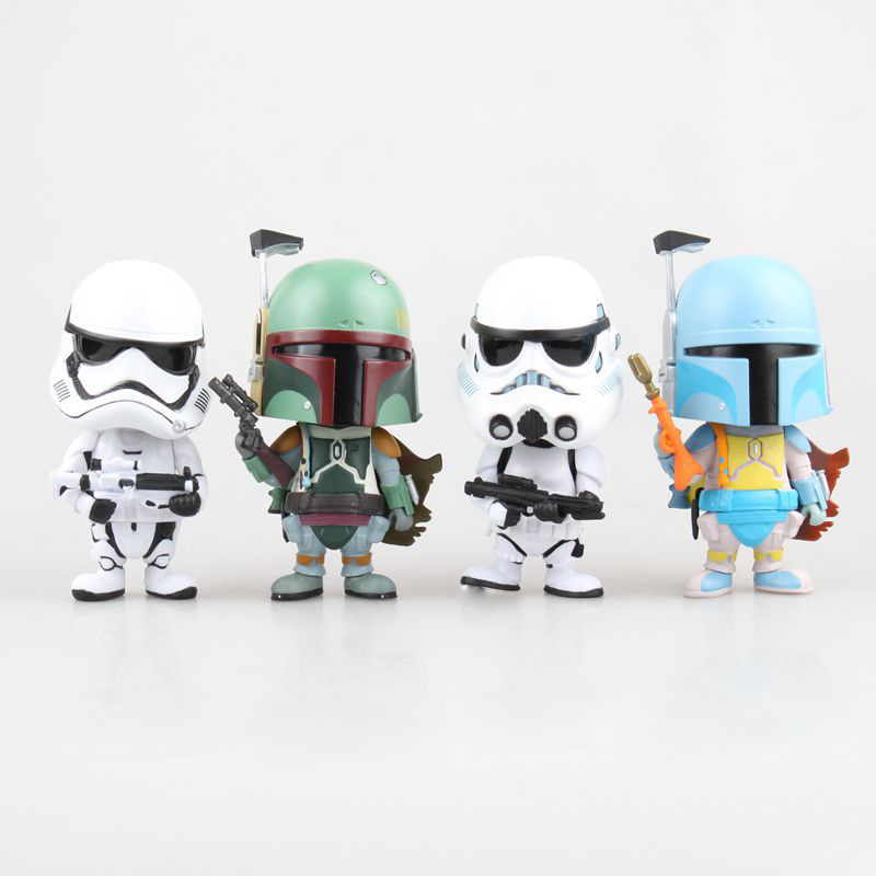 Star Wars Boba Fett Imperial Stormtrooper Bobble Head Shaking Head Toy 11cm Model Action Figure Pvc free shipping cute 4 star wars stormtrooper darth vader bobble head shaking head toy model car decoration boxed pvc figure