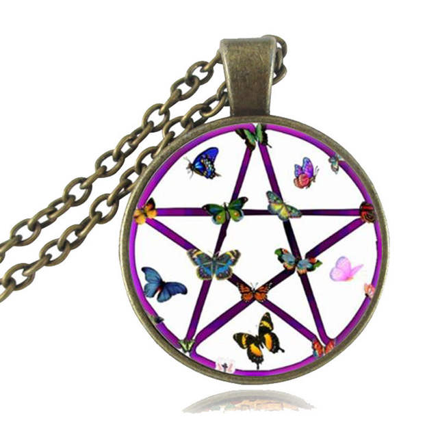 US $11 99 |Golden Pentagram Necklace Cabochon Pentacle Pendant Ace of  Pentacles Tarot Card Jewelry Wiccan Accessories Occult Jewellery-in Pendant