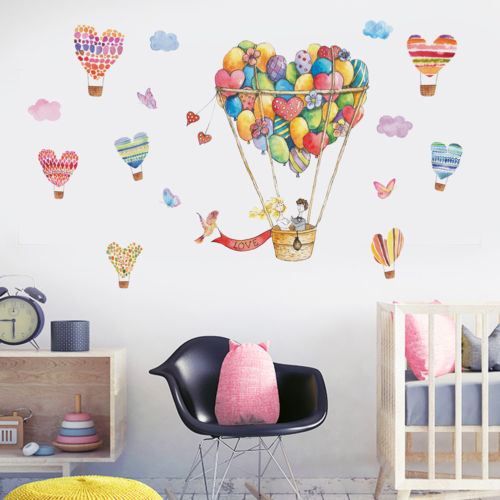 CA Cute Hot-air Balloon & Heart Wall Decal Art Stickers Vinyl Home Room Decor ...