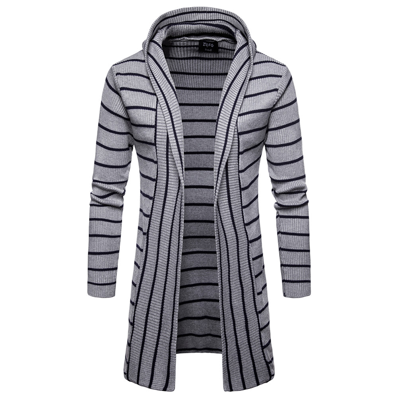 Fashion 2018 Winter Men Casual Sweater Thick coat slim Cardigan Men Hooded Neck Jacket Knitted Brand Male Sweaters plus size